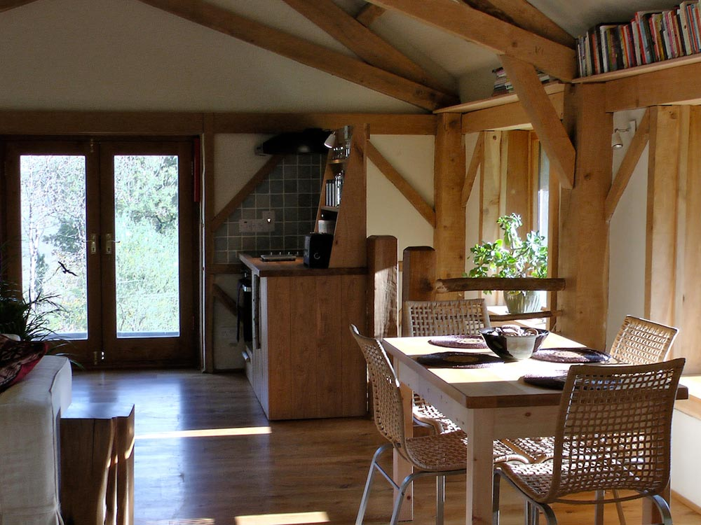 Dining Table and Kitchen in the Barn
