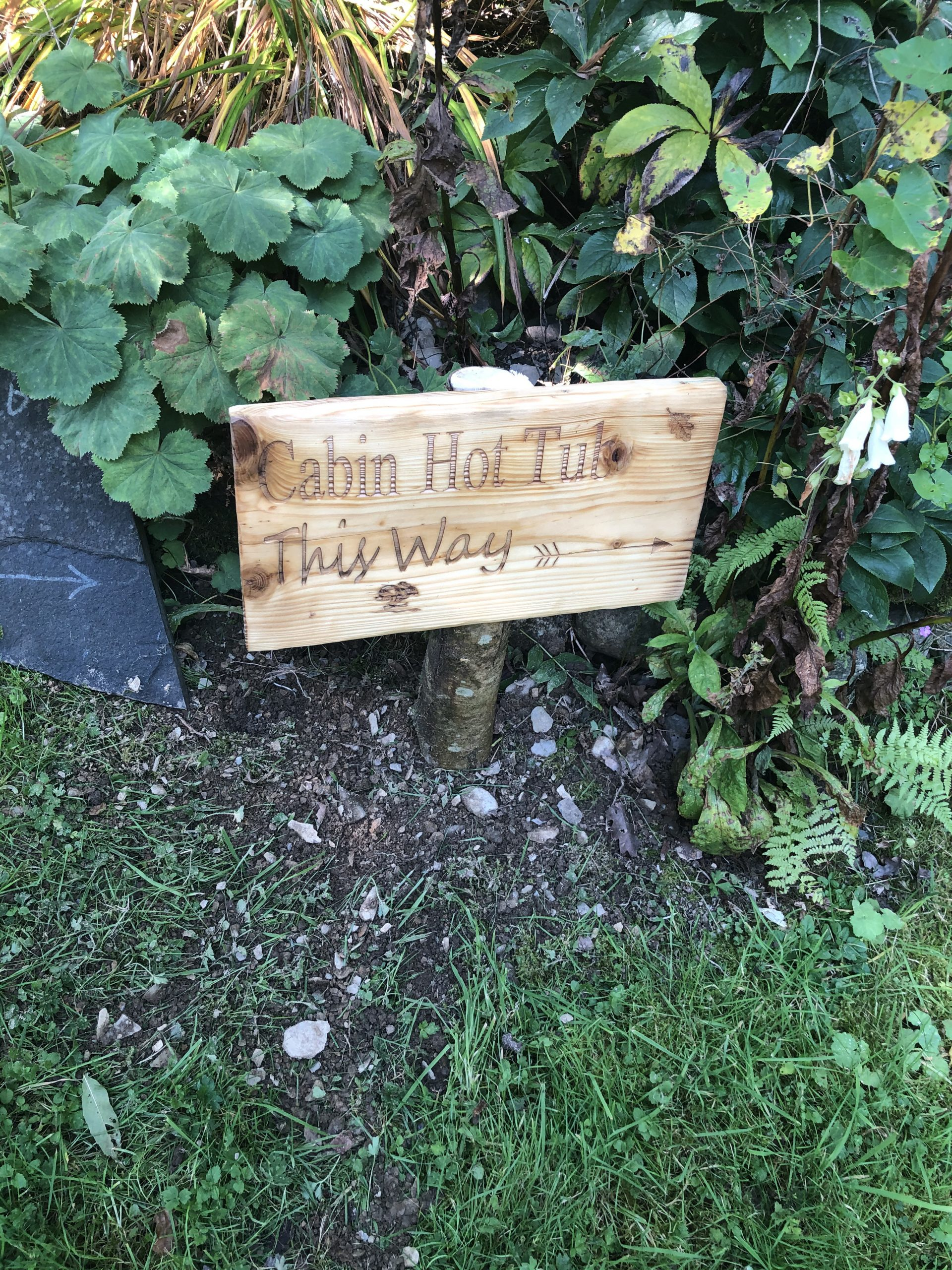 Rustic wooden sign in woods reads Cabin Hot Tub This Way